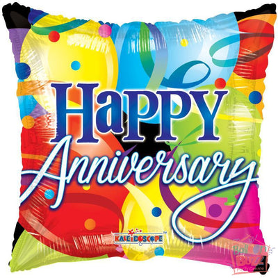 Happy Anniversary With Balloons - 18 inch - Helium-Filled Foil Balloon