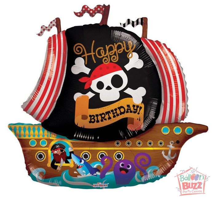Happy Birthday Pirate Boat Shape - 36 inch - Helium-Filled Foil Balloon