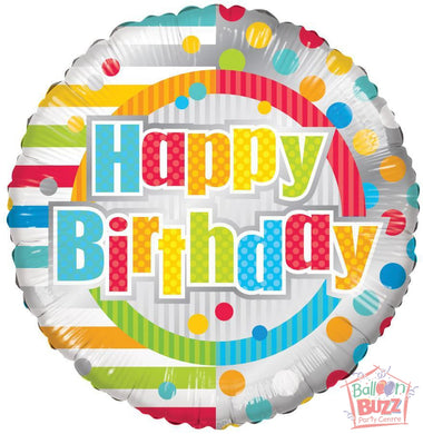 Birthday Dots and Lines - 18 inch - Helium-Filled Foil Balloon