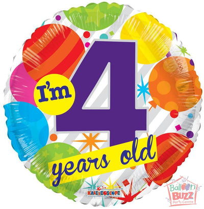 I Am 4 Years Old Birthday - 18 inch - Helium-Filled Foil Balloon