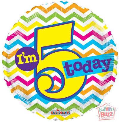 I Am 5 Today Birthday - 18 inch - Helium-Filled Foil Balloon