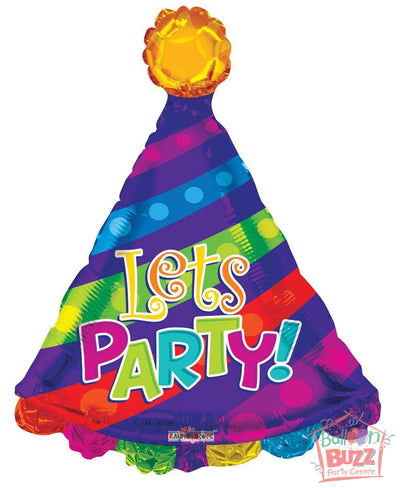 Happy Birthday Let's Party Hat Shape - 28 inch - Helium-Filled Foil Balloon
