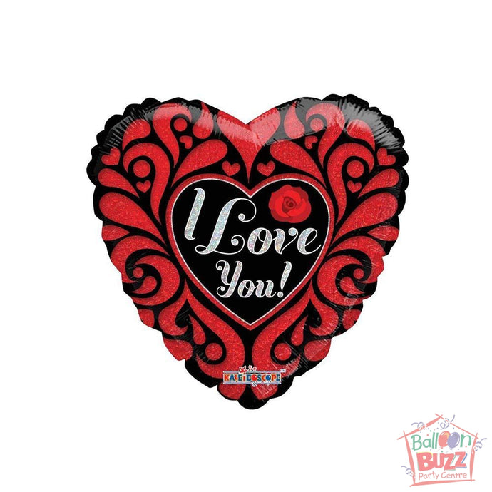 Valentine Cut Paper Holographic - 18 inch - Helium-Filled Foil Balloon