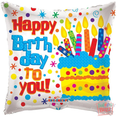 Happy Birthday Cake On Square - 18 inch - Helium-Filled Foil Balloon