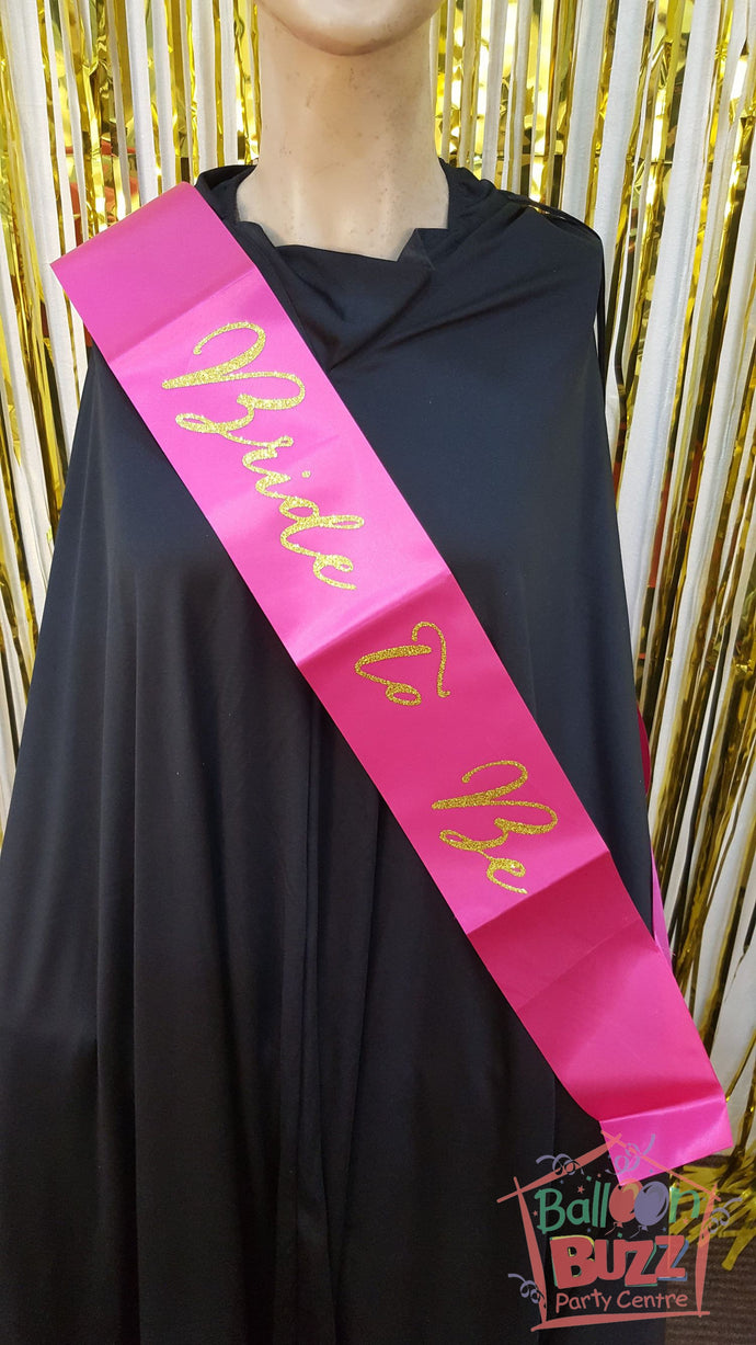 WED Bride To Be Sash Glitter Gold BB
