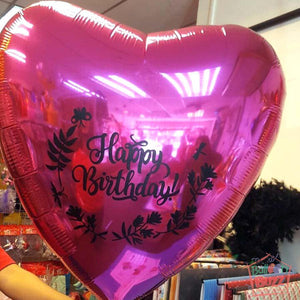 36-inch Heart Shaped Foil With Personalized Message + 10 Helium-Filled Latex Balloons
