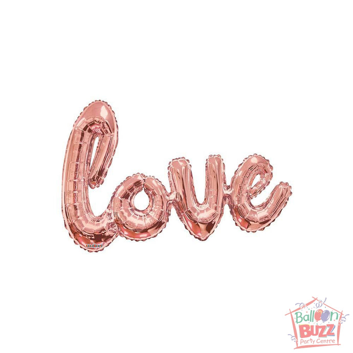 Rose Gold Love Script - 36 inch - Helium-Filled Foil Balloon