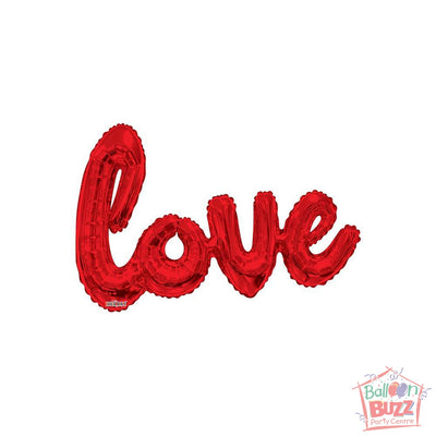 Red Love Script - 36 inch - Air-Filled Foil Balloon