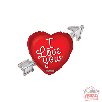 Heart With Arrow I Love You - 36 inch - Helium-Filled Foil Balloon