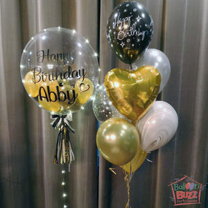 Gold and Black Themed 24-Inch Birthday Personalized Balloon With Lights + 7 Helium-Filled Mixed Bouquet