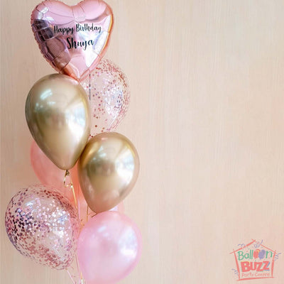 Personalized 18-Inch Heart Shaped Foil Balloon In Mixed Bouquet