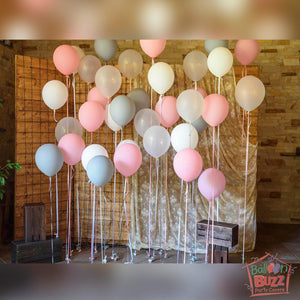 Pastel-Matte Balloon Backdrop - Pink, White, Grey And Transparent
