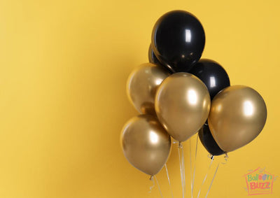 Gold And Black Theme Balloons