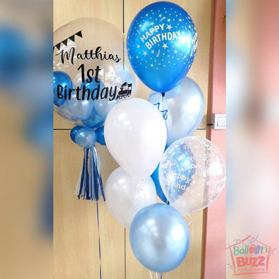 1st Birthday Balloon With Message And Matching Bouquet