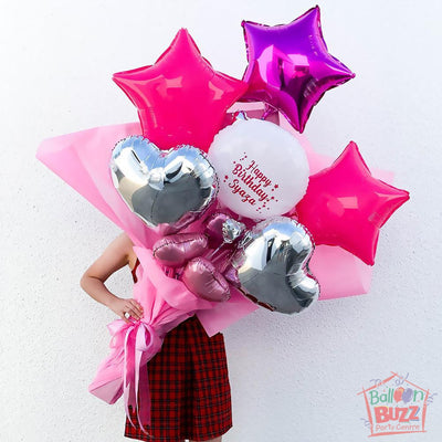 Extra Large Balloon Hand Bouquet Arrangement in Pink Theme