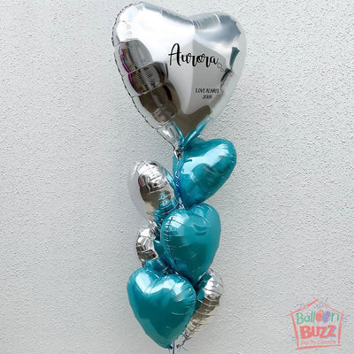 36-inch Personalized Turquoise Silver Balloon Bouquet