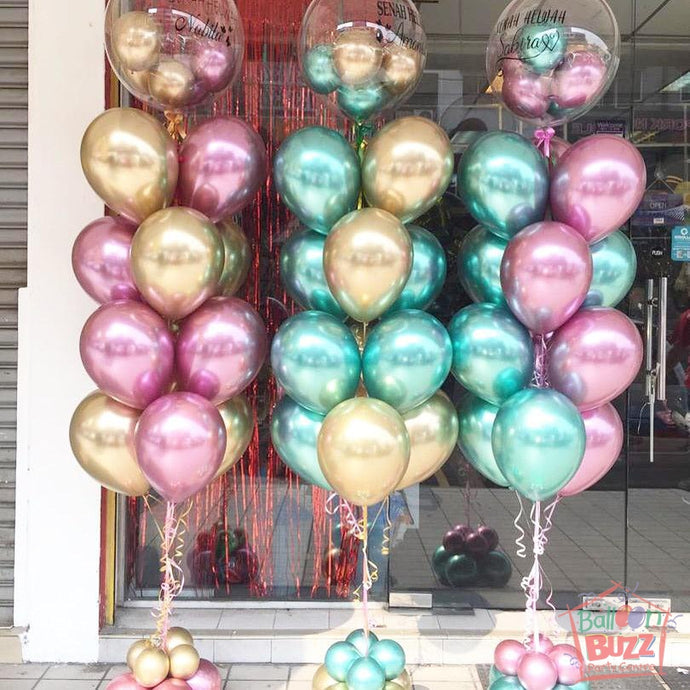Bouquet of Chrome Balloons with Personalized Message