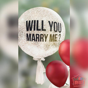 24-Inch Personalized Proposal Balloon With Confetti + A Bouquet Of 7 Helium-Filled Latex Balloons