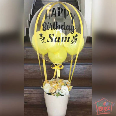 Yellow Hot Air Bouquet with Personalized Message