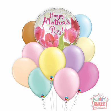 Tulips Mother's Day 17-inch Helium-Filled Foil + 10 Pastel Helium-Filled Latex