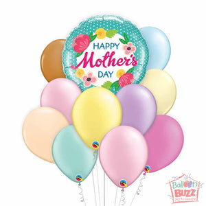 Happy Mother's Day 18-inch Helium-Filled Foil + 10 Pastel Helium-Filled Latex