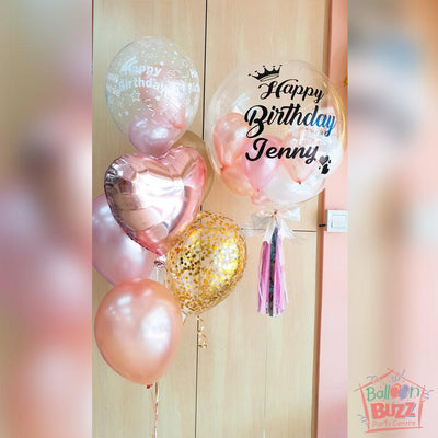 Birthday 24-inch Balloon With Personalized Message And Mini Balloons + 1 Mixed Bouquet Of Latex Balloons And Heart Foil