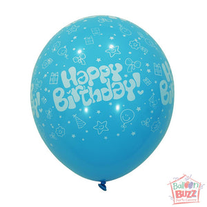 12-inch - Printed - Light Blue Happy Birthday - Helium-Filled Balloon