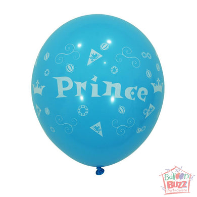 12-inch - Printed - Light Blue Prince - Helium-Filled Balloon