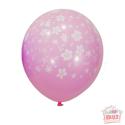 12-inch - Printed - Pink Florals - Helium-Filled Balloon