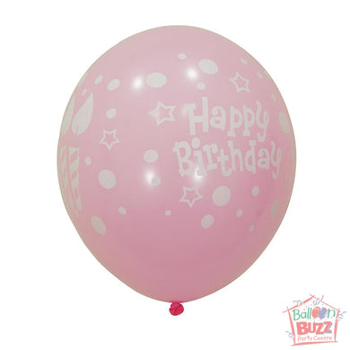 12-inch - Printed - Light Pink Happy Birthday - Helium-Filled Balloon