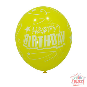 12-inch - Printed - Lime Yellow Happy Birthday - Helium-Filled Balloon