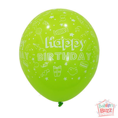 12-inch - Printed - Lime Green Happy Birthday - Helium-Filled Balloon
