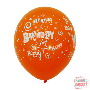12-inch - Printed - Orange Happy Birthday - Helium-Filled Balloon