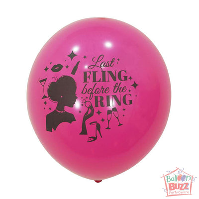 12-inch - Printed - Pink Fling Before The Ring - Helium-Filled Balloon