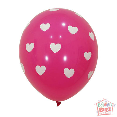 12-inch - Printed - Pink Hearts - Helium-Filled Balloon