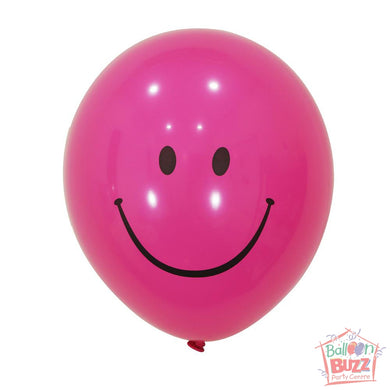 12-inch - Printed - Pink Smiley - Helium-Filled Balloon