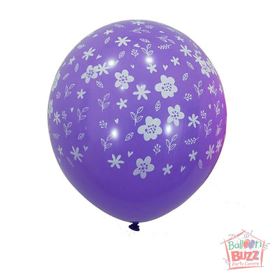12-inch - Printed - Purple Florals - Helium-Filled Balloon