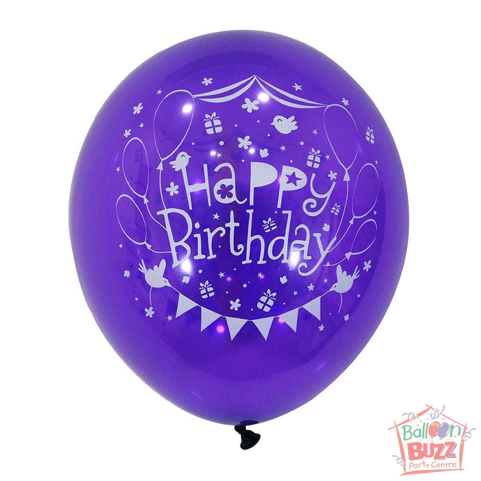 12-inch - Printed - Purple Happy Birthday - Helium-Filled Balloon