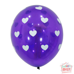 12-inch - Printed - Purple Hearts - Helium-Filled Balloon
