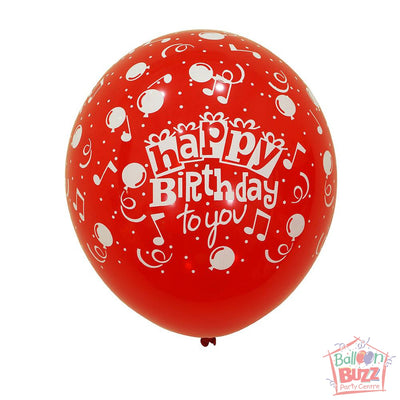 12-inch - Printed - Red Happy Birthday - Helium-Filled Balloon