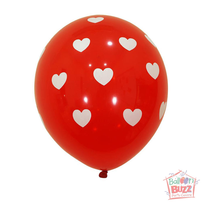 12-inch - Printed - Red Hearts - Helium-Filled Balloon