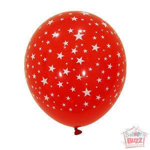 12-inch - Printed - Red Stars - Helium-Filled Balloon