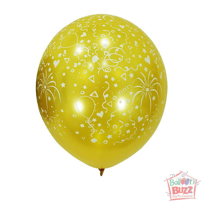 12-inch - Printed - Yellow Celebration - Helium-Filled Balloon