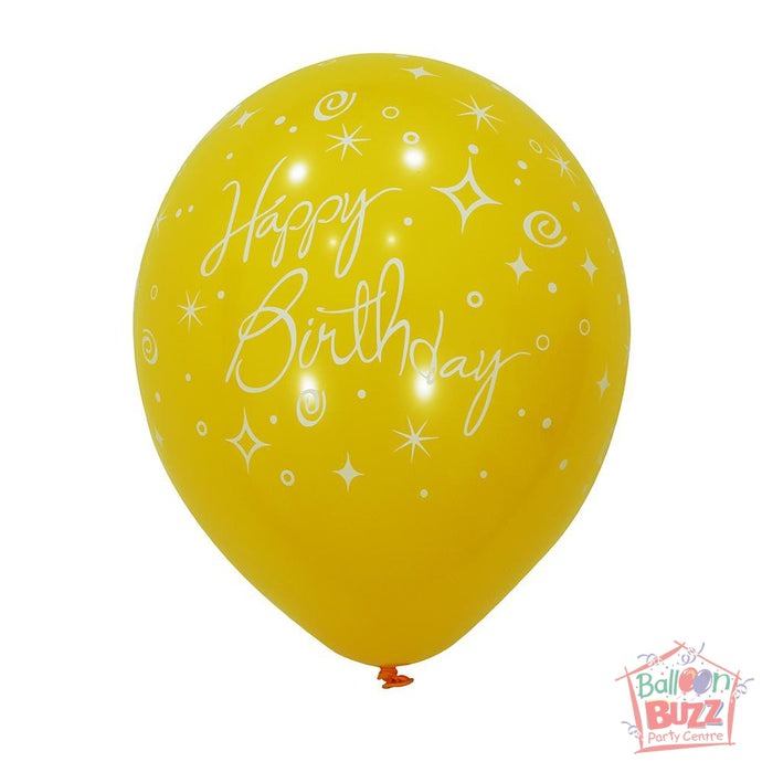12-inch - Printed - Yellow Happy Birthday - Helium-Filled Balloon