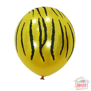 12-inch - Printed - Yellow Stripes - Helium-Filled Balloon