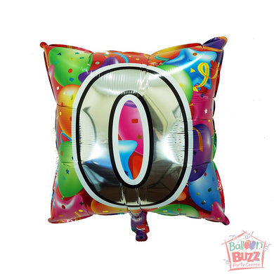 Number 0 - Square Foil Helium-Filled - 18-inch