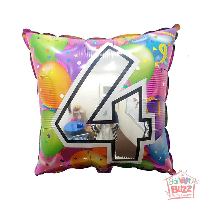 Number 4 - Square Foil Helium-Filled - 18-inch