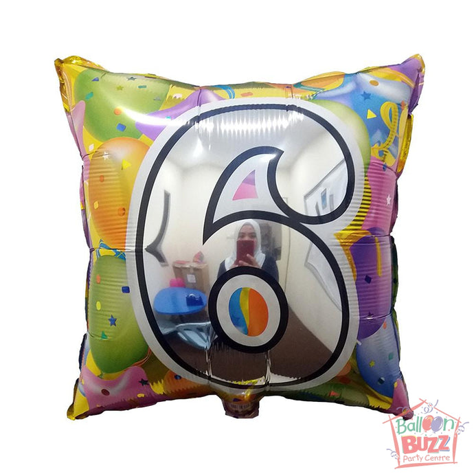Number 6 - Square Foil Helium-Filled - 18-inch