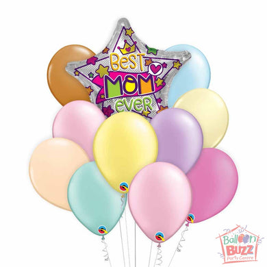 Best Mom Ever 18-inch Helium-Filled Foil + 10 Pastel Helium-Filled Latex