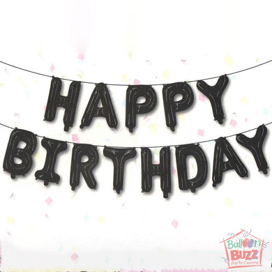 Happy Birthday Set - Black Foil Air-Filled - 16-inch